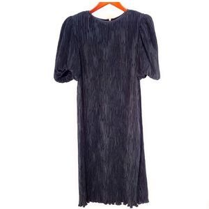 Nuit Pleated Silk Long Puffy Sleeve Dress VINTAGE